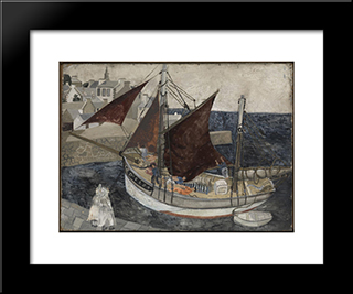 Boat In Harbour, Brittany: Modern Black Framed Art Print by Christopher Wood