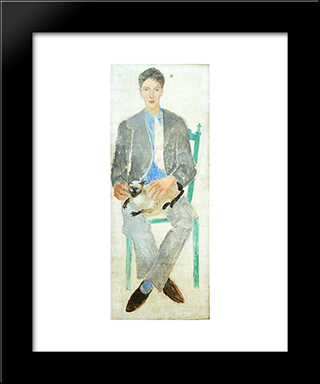 Boy With Cat, Portrait Of Fr.Jean Bougoint: Modern Black Framed Art Print by Christopher Wood