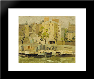 Buildings At Passy, Pari: Modern Black Framed Art Print by Christopher Wood