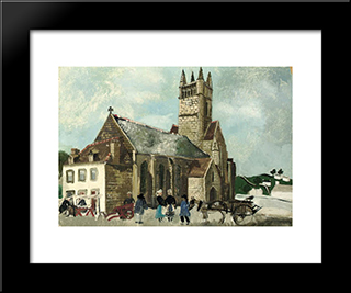 Church And Market, Brittany: Modern Black Framed Art Print by Christopher Wood