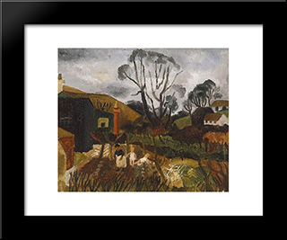 Cottages In Cornwall: Modern Black Framed Art Print by Christopher Wood