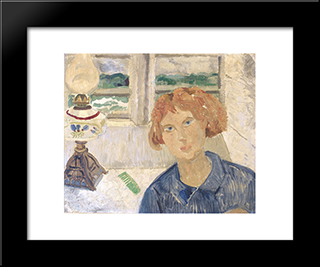Girl And Lamp In A Cornish Window: Modern Black Framed Art Print by Christopher Wood