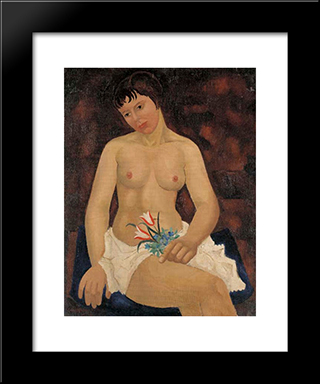 Nude With Tulips: Modern Black Framed Art Print by Christopher Wood