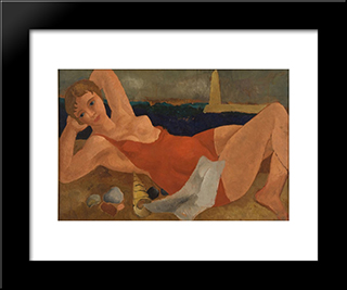 The Bather: Modern Black Framed Art Print by Christopher Wood