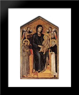 Madonna Enthroned With The Child, St. Francis, St. Domenico And Two Angels: Modern Black Framed Art Print by Cimabue