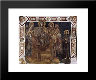 Madonna Enthroned With The Child, St. Francis And Four Angels: Modern Black Framed Art Print by Cimabue