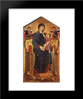 Madonna Enthroned With The Child And Two Angels: Modern Black Framed Art Print by Cimabue