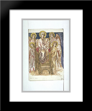 Madonna Enthroned With The Child With Angels: Modern Black Framed Art Print by Cimabue