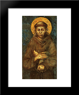 Saint Francis Of Assisi (Detail): Modern Black Framed Art Print by Cimabue