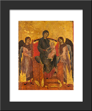 The Virgin And Child Enthroned With Two Angels: Modern Black Framed Art Print by Cimabue