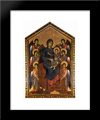 The Virgin And Child In Majesty Surrounded By Six Angels: Modern Black Framed Art Print by Cimabue