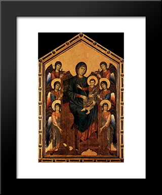 Virgin Enthroned With Angels: Modern Black Framed Art Print by Cimabue