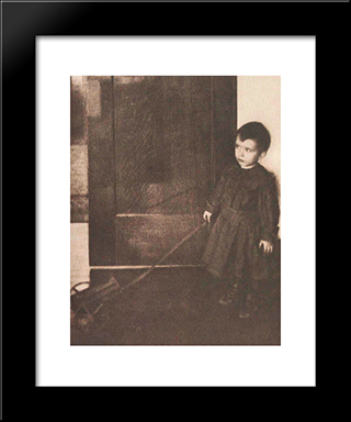 Boy With Wagon: Modern Black Framed Art Print by Clarence White