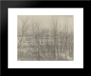 Factory Town In Winter: Modern Black Framed Art Print by Clarence White