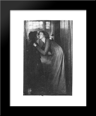 The Kiss: Modern Black Framed Art Print by Clarence White