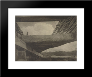 The Skeleton Of The Ship, Bath, Maine: Modern Black Framed Art Print by Clarence White