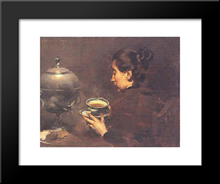 A Chavena De Cha: Modern Black Framed Art Print by Columbano Bordalo Pinheiro