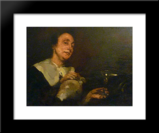 A Locandeira: Modern Black Framed Art Print by Columbano Bordalo Pinheiro