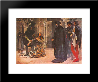 Assass­nio De Dona Ines De Castro: Custom Black Wood Framed Art Print by Columbano Bordalo Pinheiro