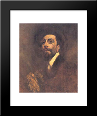 Auto-Retrato: Modern Black Framed Art Print by Columbano Bordalo Pinheiro
