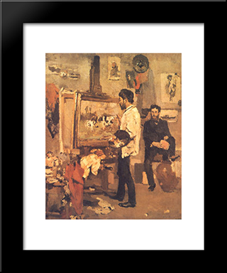 Columbano Bordalo Pinheiro In Atelier: Modern Black Framed Art Print by Columbano Bordalo Pinheiro