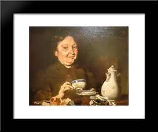 Five O'Clock Tea: Modern Black Framed Art Print by Columbano Bordalo Pinheiro