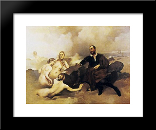 O Grupo Do Leo: Custom Black Wood Framed Art Print by Columbano Bordalo Pinheiro
