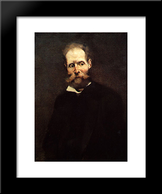 Portrait Of Antero De Quintal: Modern Black Framed Art Print by Columbano Bordalo Pinheiro