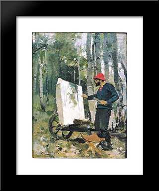 Portrait Of Arthur Loureiro: Modern Black Framed Art Print by Columbano Bordalo Pinheiro