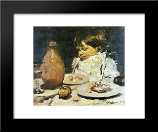 Refeico Interrompida: Custom Black Wood Framed Art Print by Columbano Bordalo Pinheiro