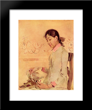 Retrato De Helena Bordalo Pinheiro: Modern Black Framed Art Print by Columbano Bordalo Pinheiro