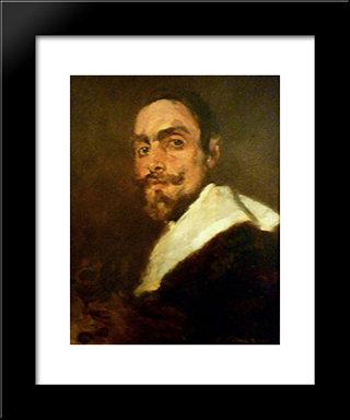 Retrato Do Professor Joo Barreira: Custom Black Wood Framed Art Print by Columbano Bordalo Pinheiro