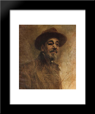 Self-Portrait: Modern Black Framed Art Print by Columbano Bordalo Pinheiro