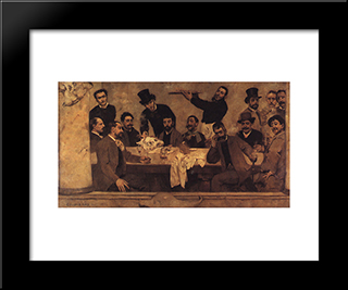 The Lion'S Group: Modern Black Framed Art Print by Columbano Bordalo Pinheiro