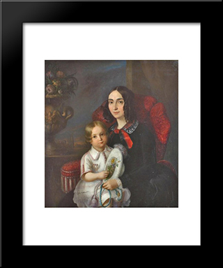 Anica Manu With Her Child: Modern Black Framed Art Print by Constantin Daniel Rosenthal