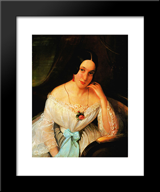 Portrait Of A Woman: Modern Black Framed Art Print by Constantin Daniel Rosenthal