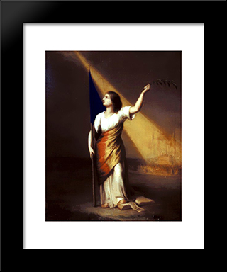 Romania Breaking Off Her Chains On The Field Of Liberty: Modern Black Framed Art Print by Constantin Daniel Rosenthal