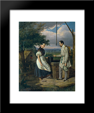 Scene At A Fountain: Modern Black Framed Art Print by Constantin Daniel Rosenthal