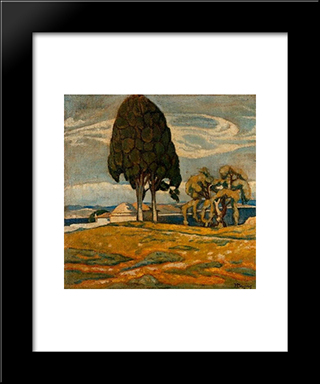 Church With Trees: Modern Black Framed Art Print by Constantine Maleas