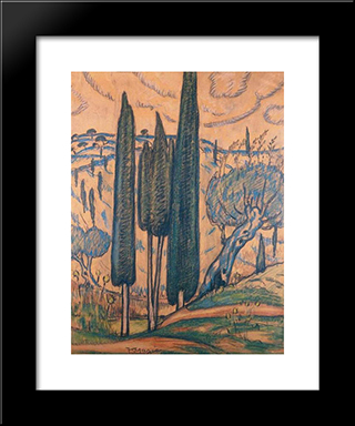 Landscape With Cypresses: Modern Black Framed Art Print by Constantine Maleas