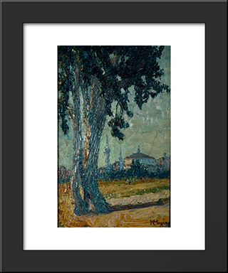 Landscape With Tree And Mosque In The Background: Modern Black Framed Art Print by Constantine Maleas