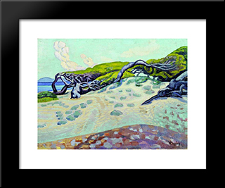 Pines At Rafina: Modern Black Framed Art Print by Constantine Maleas