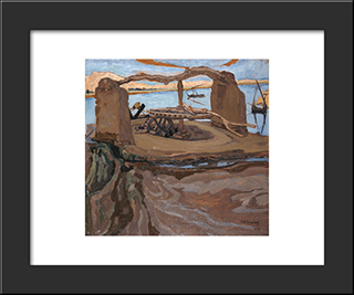 The Old Well: Modern Black Framed Art Print by Constantine Maleas