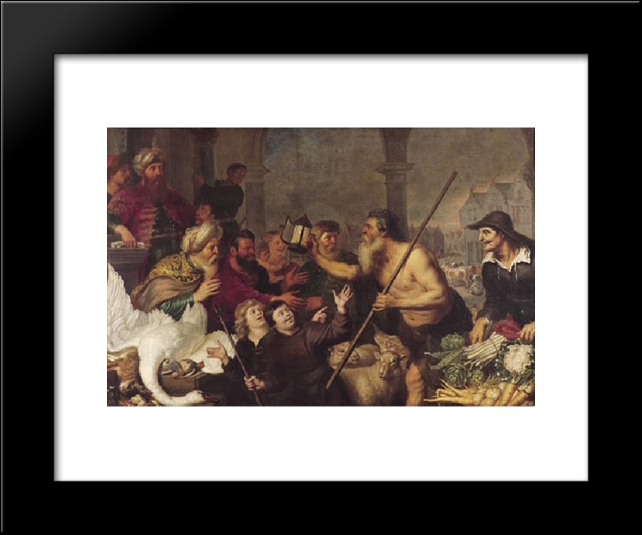 Diogenes Searches For A Man: Modern Black Framed Art Print by Cornelis de Vos