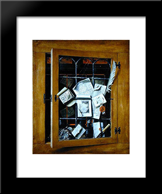 A Trompe L'Oeil Of An Open Glazed Cupboard Door, With Numerous Papers And Objects: Modern Black Framed Art Print by Cornelis Norbertus Gysbrechts