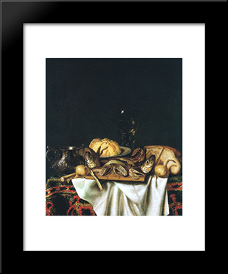 Nature Morte Aux Poissons: Modern Black Framed Art Print by Cornelis Norbertus Gysbrechts