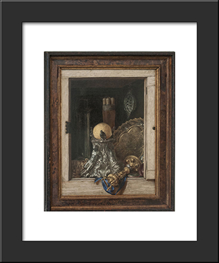 Silverware In An Open Cabinet: Modern Black Framed Art Print by Cornelis Norbertus Gysbrechts