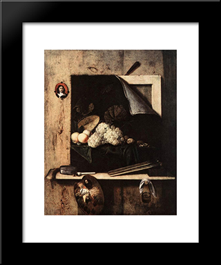 Still-Life With Self-Portrait: Modern Black Framed Art Print by Cornelis Norbertus Gysbrechts