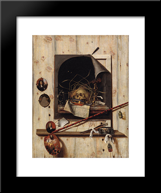 Trompe L'Oeil With Studio Wall And Vanitas Still Life: Modern Black Framed Art Print by Cornelis Norbertus Gysbrechts