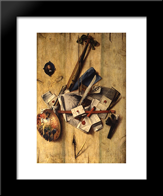 Trompe L'Oeil With Violin, Painter'S Implements And Self-Portrait: Modern Black Framed Art Print by Cornelis Norbertus Gysbrechts